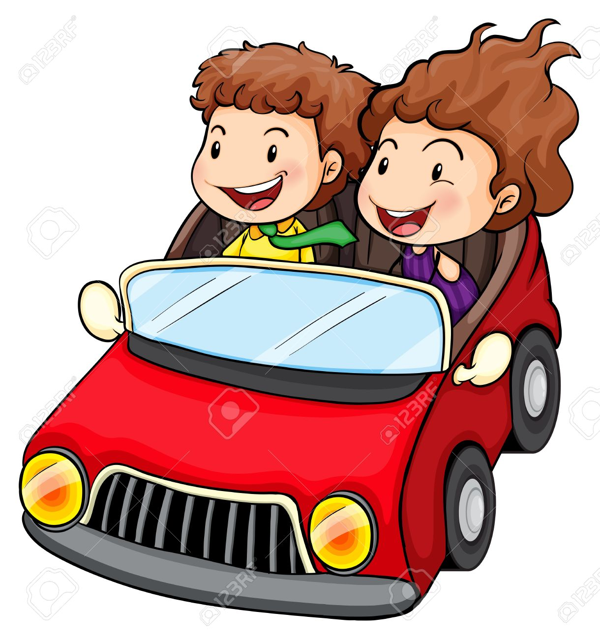 Clip Art Of Car Driving On Road
