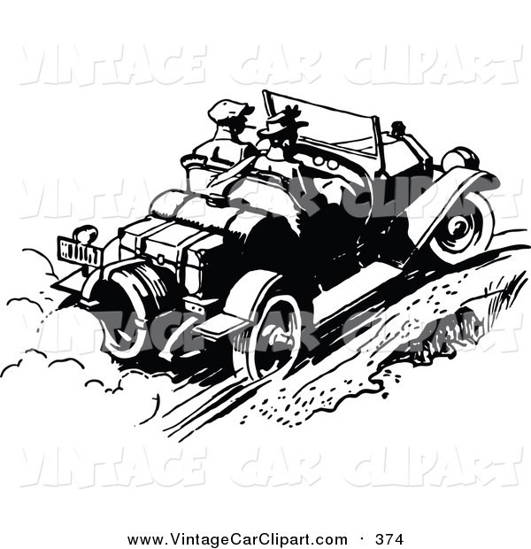 Clipart Of A Vintage Black And White Couple Driving Away In A.
