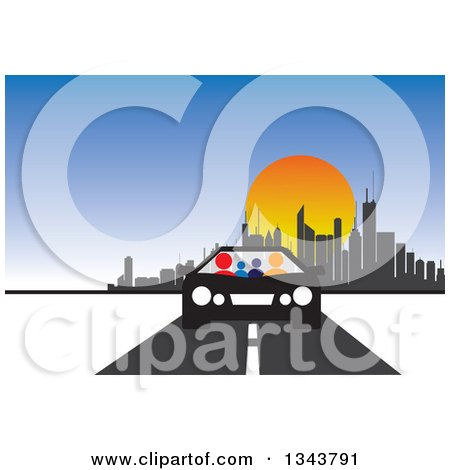 Clipart of a Colorful Family in a Black and White Car, Driving Away.