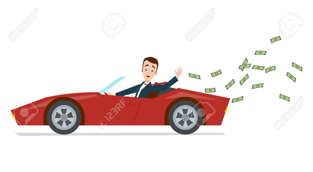 Businessman driving a red sports car and throwing money away.