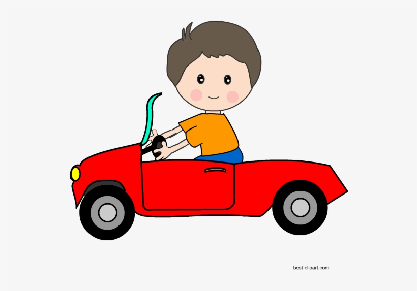 Kid Driving A Red Car Clipart.