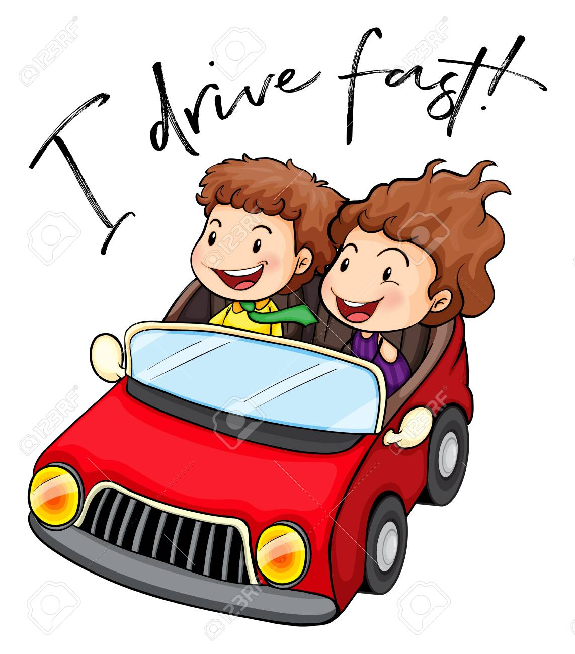 People driving car with phrase I drive fast illustration.