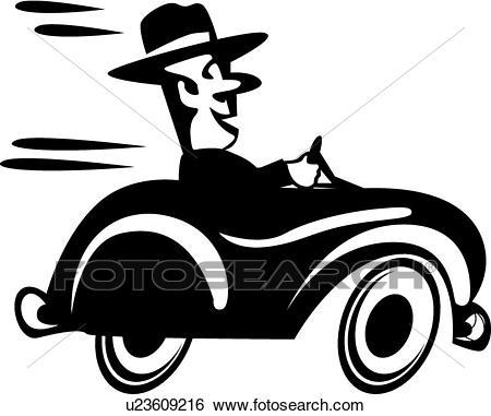 Man driving fast Clip Art.