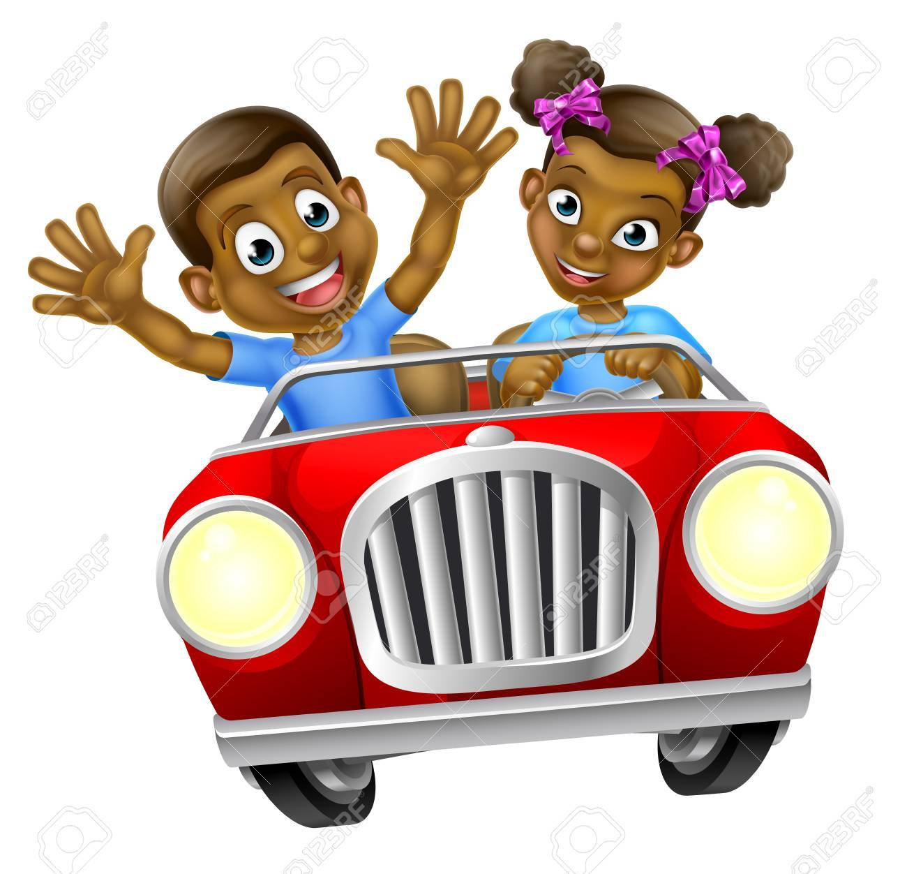 A boy and girl having fun driving fast in a car on a road trip.