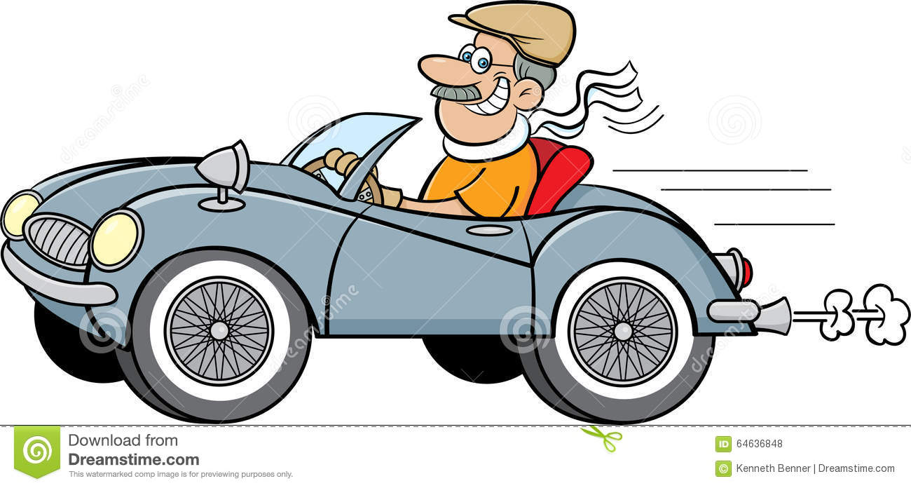 Cartoon Man Driving A Sports Car. Stock Vector.
