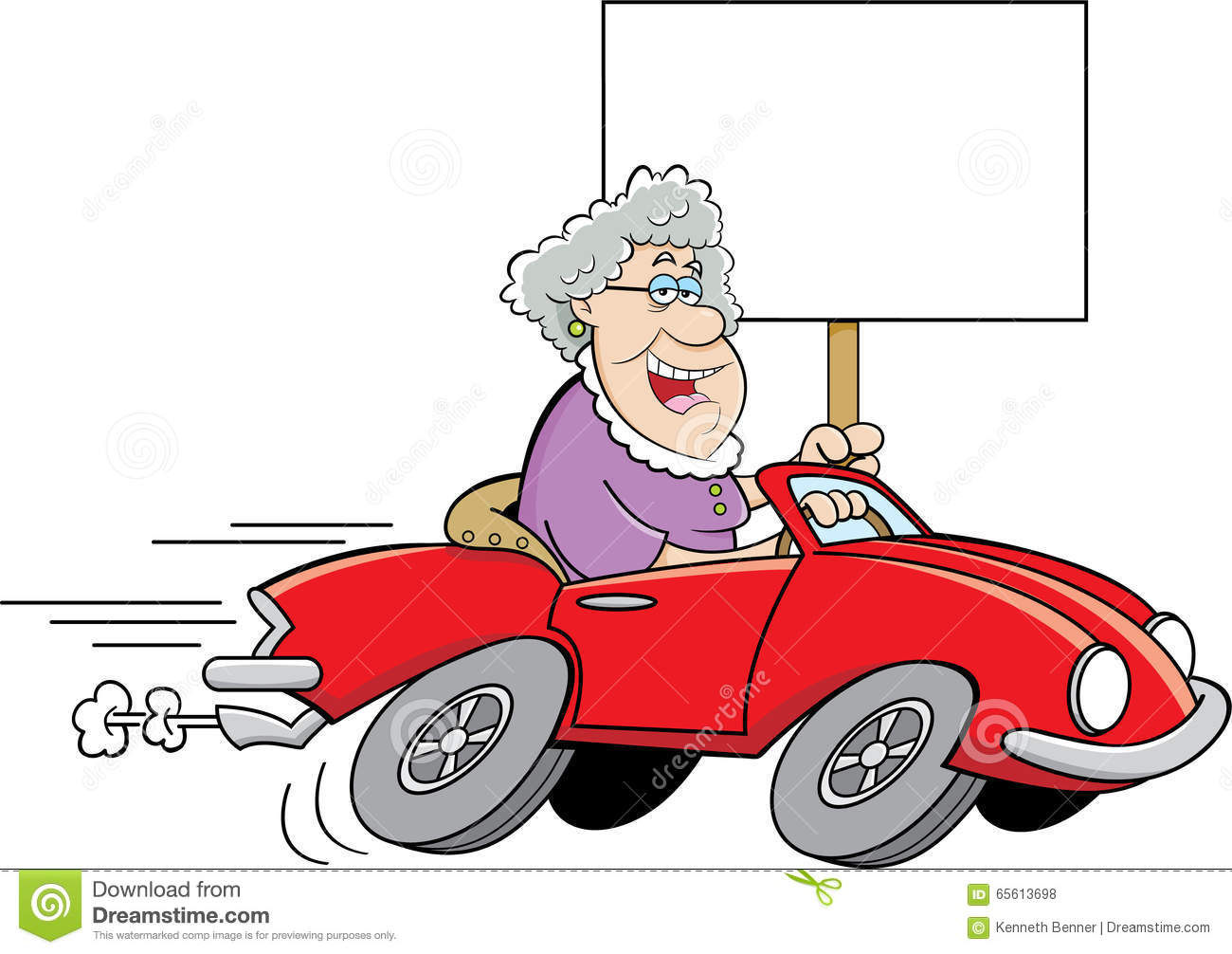 Cartoon Old Lady Driving A Sports Car And Holding A Sign. Stock.