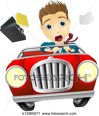 Businessman driving car fast Clipart.
