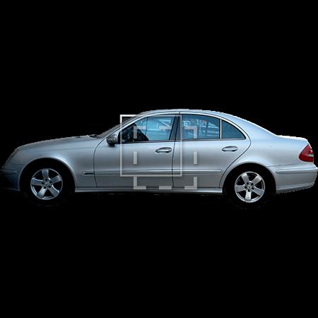 Silver car sedan side elevation.