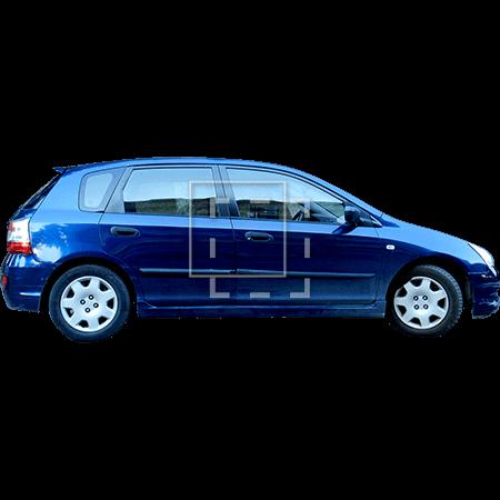 Blue family car side elevation.