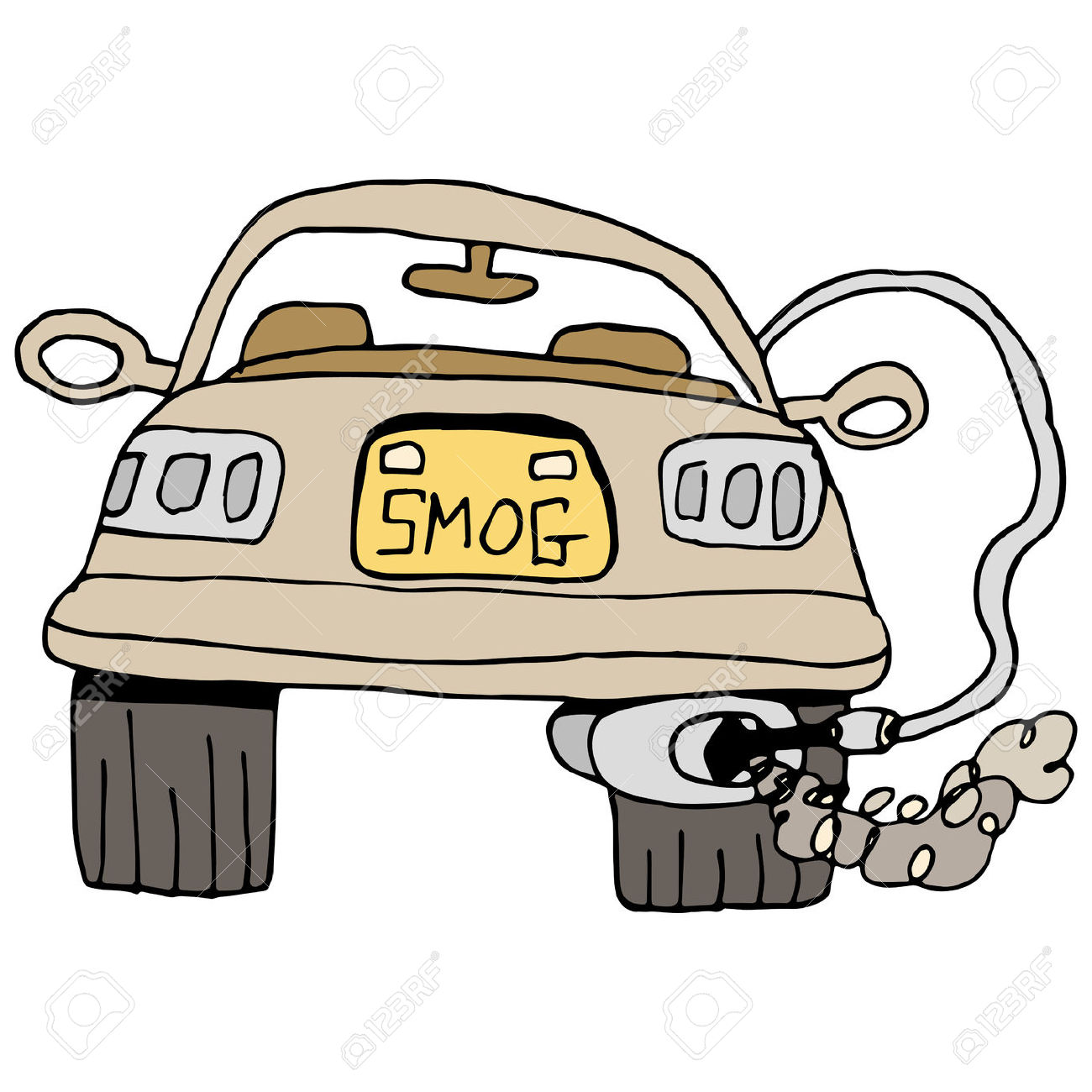 An Image Of A Car Getting A Smog Check. Royalty Free Cliparts.