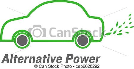 Vector Illustration of vector alternative power car with green.