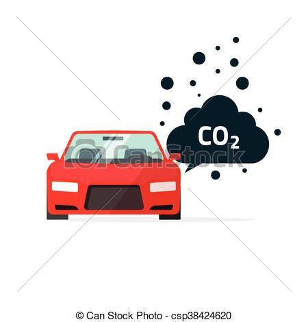 Vector Illustration of co2 emissions vector illustration, car.