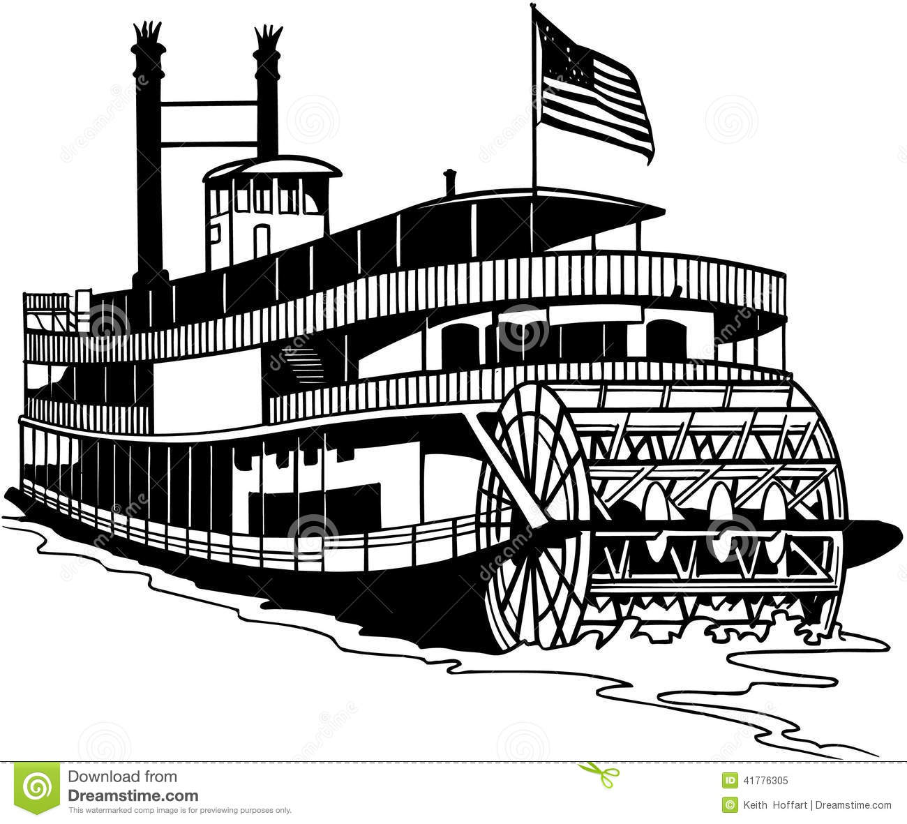 Old Ferry Boat Cartoon Vector Clipart Stock Vector.