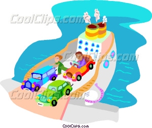 ferry boat with cars Vector Clip art.
