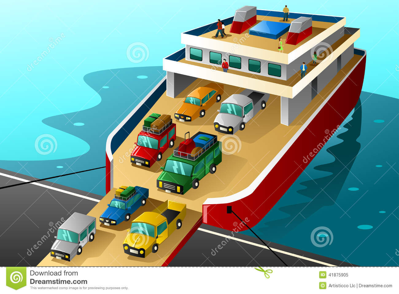 Cars In Vacation Going Into A Big Ferry Stock Vector.