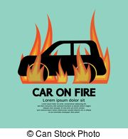 Vector of Car Wheel on Fire. Illustration on black csp11161887.