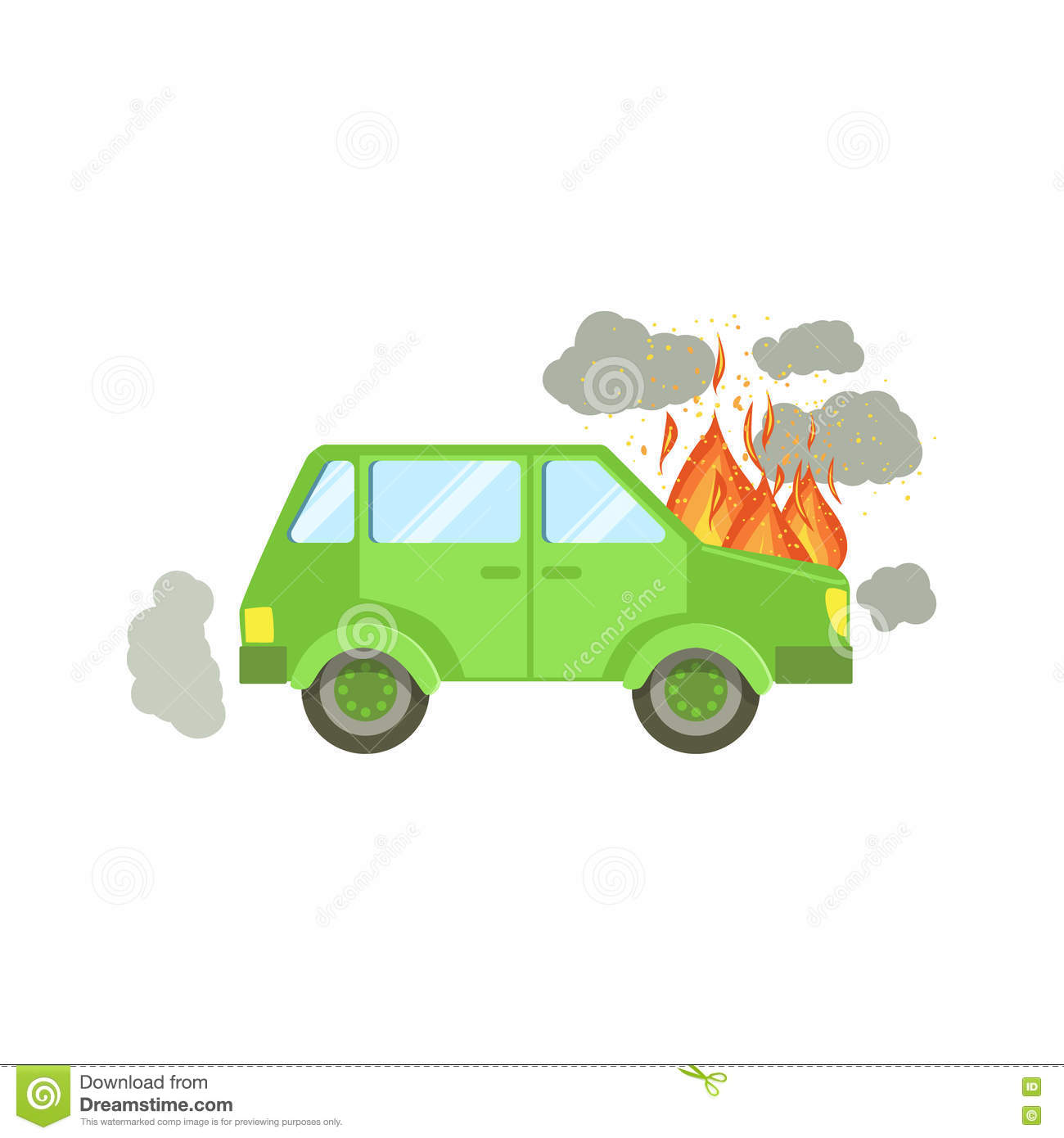 Car With Engine On Fire And Smoke Clouds Around Stock Vector.