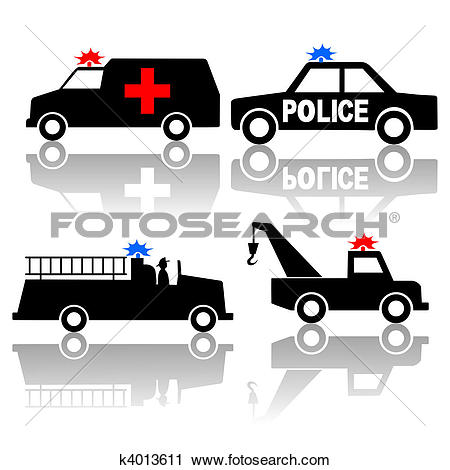 Clipart of Ambulance police car fire truck silhouettes k4013611.
