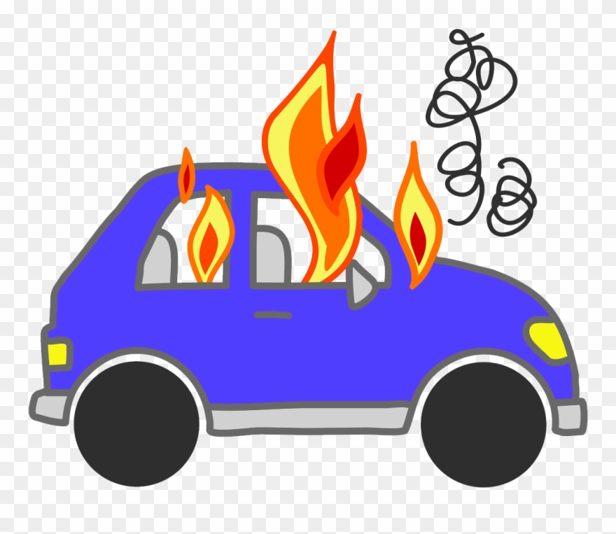 Cars On Fire Clipart.