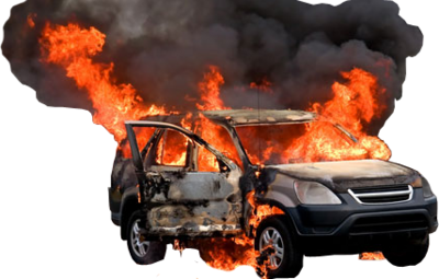 Pix. 400x255, v.6.4 141.5 Kbyte, (Burning car).