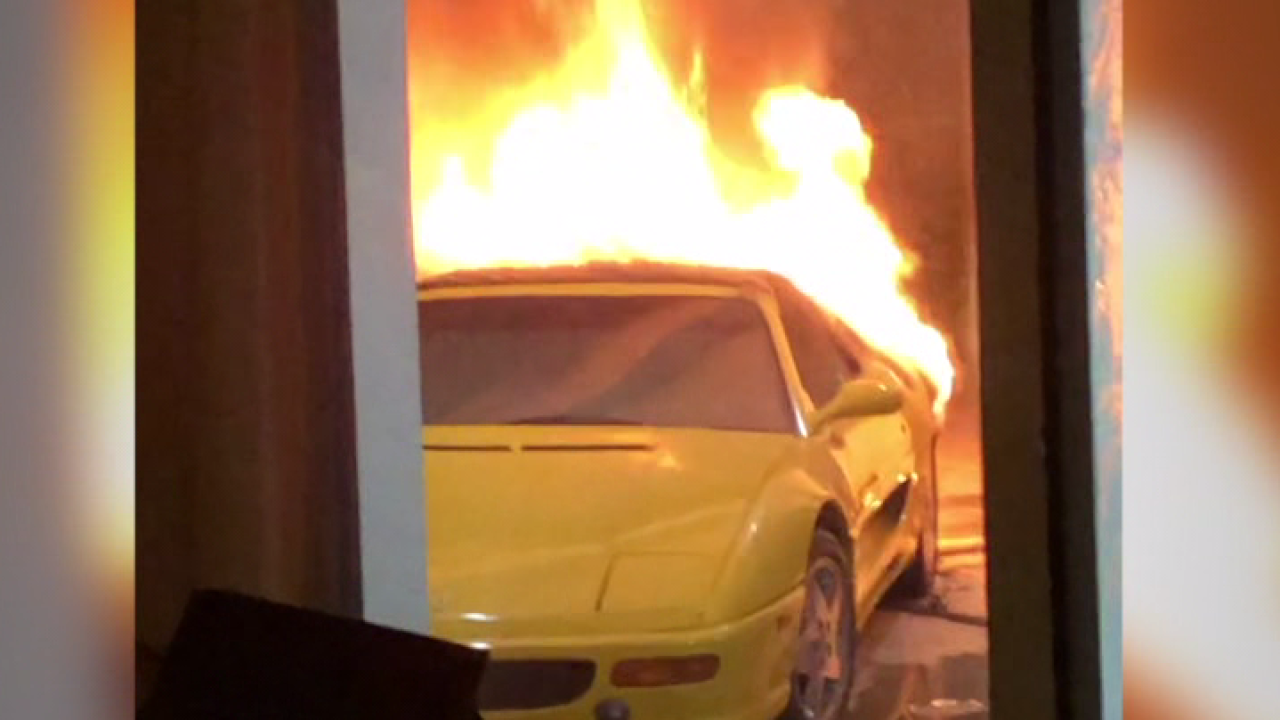 VIDEO: Car fire in west Las Vegas under investigation as arson.