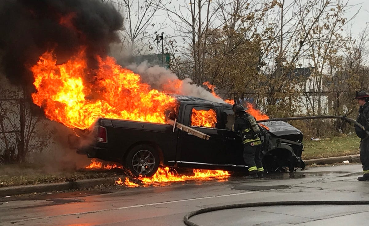 After wild police chase, truck crashes and bursts into flames.