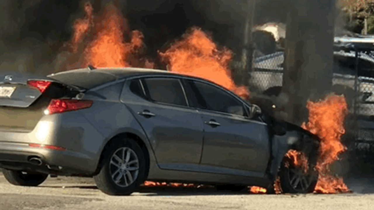 St. Petersburg man escaped burning Kia with seconds to spare.