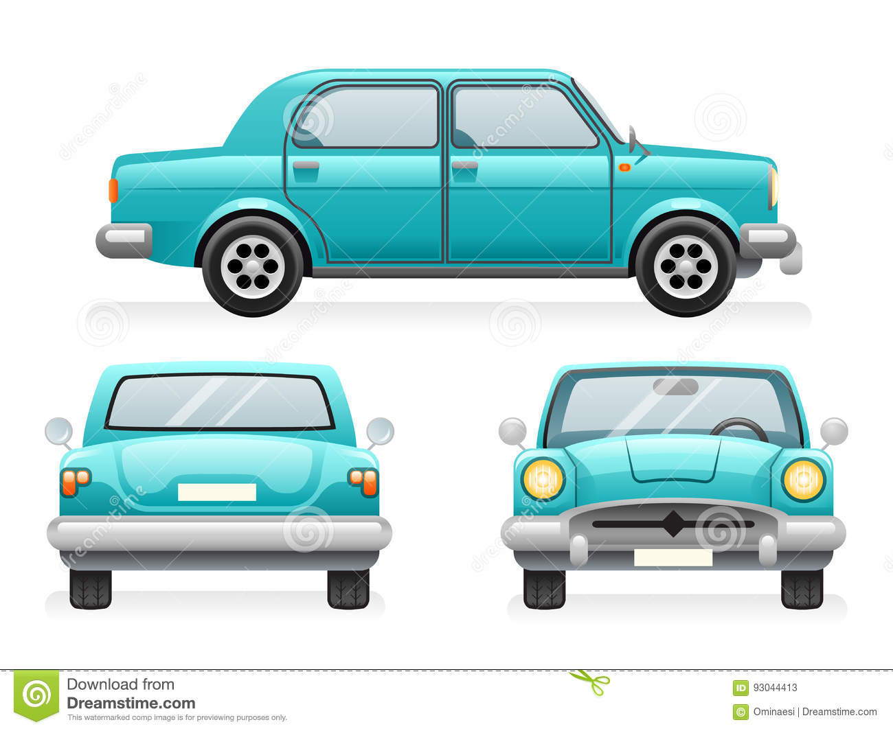 Front Back Side Point View Retro Car Icons Set Design Transport.