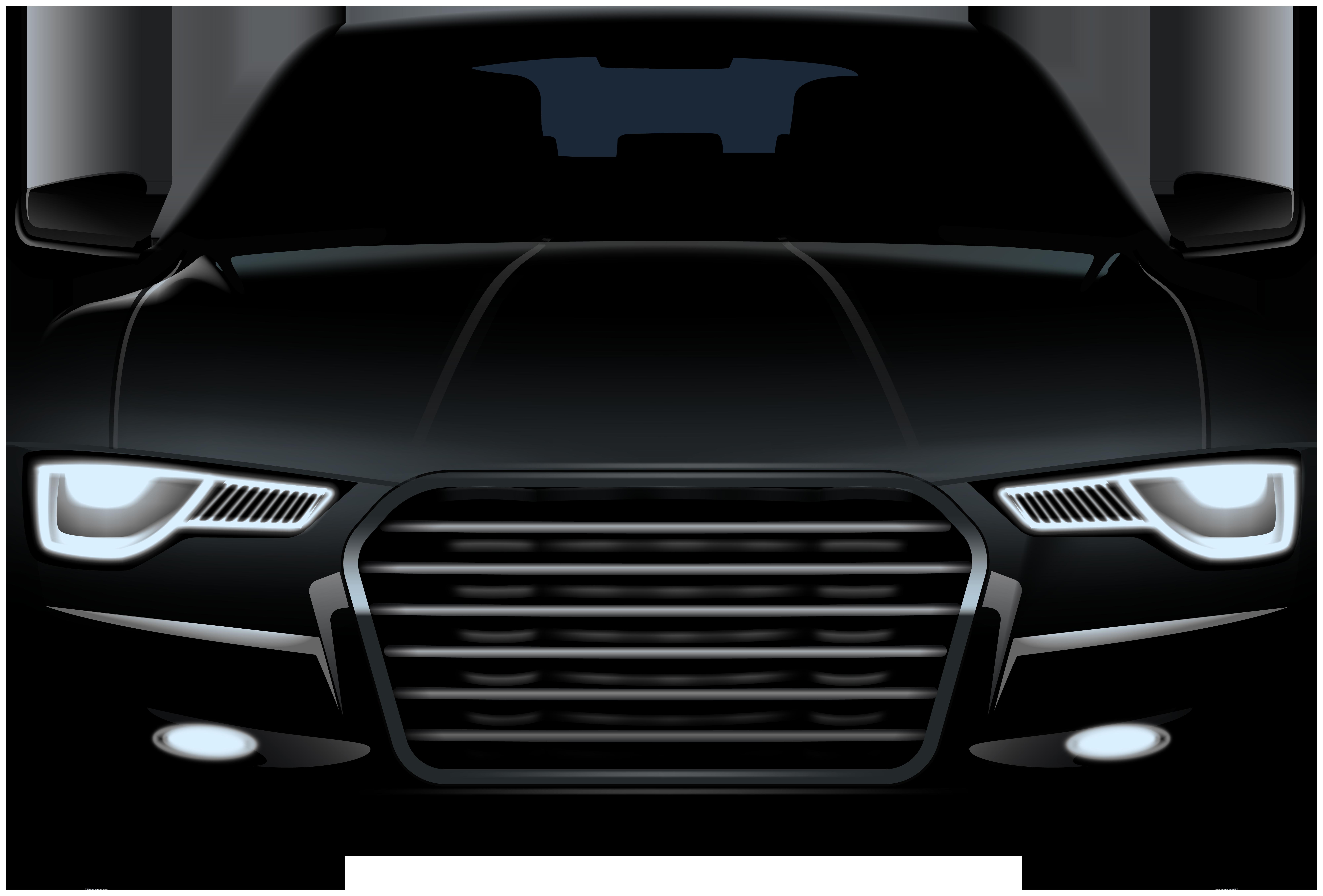 Black Sedan Front Car PNG Clip Art.