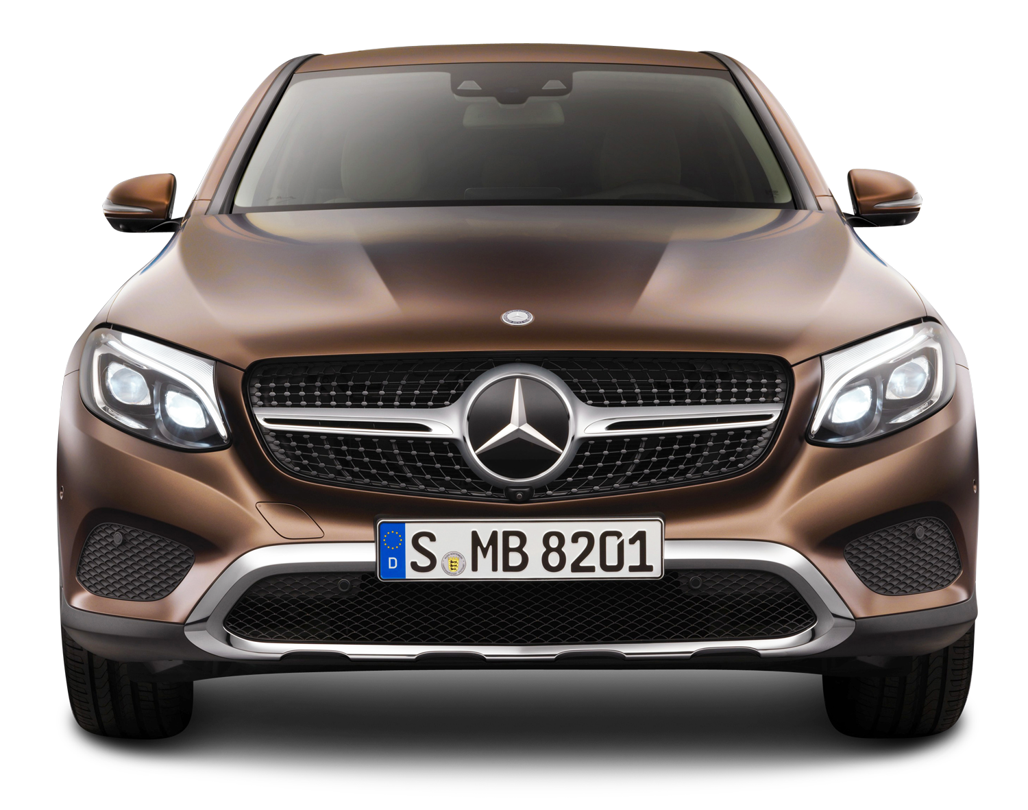 Brown Mercedes Benz GLE Coupe Front View Car PNG Image.