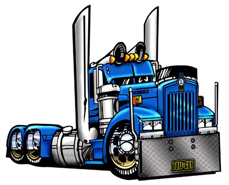 Details about CARTOON BIG RIG SEMI TRUCK T.