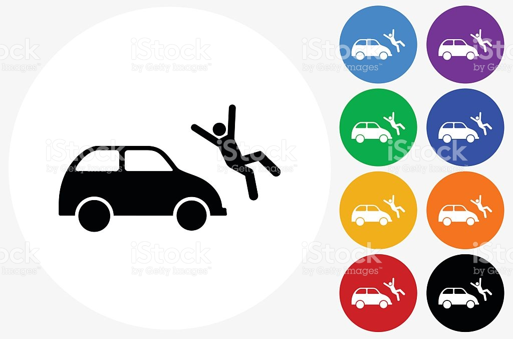 Car Hitting Person Icon On Flat Color Circle Buttons stock vector.