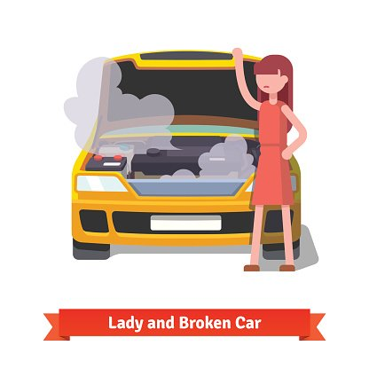 Woman looking under the hood of her broken car Clipart Image.