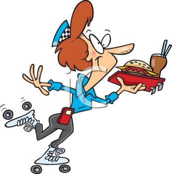 Cartoon Clipart Picture Of A Carhop Carrying A Tray Of Food.