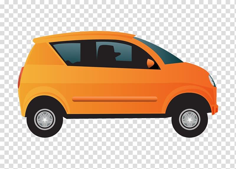Orange car illustration, Compact car Motors Corporation.