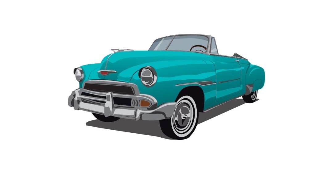 Old Classic Car Illustration.
