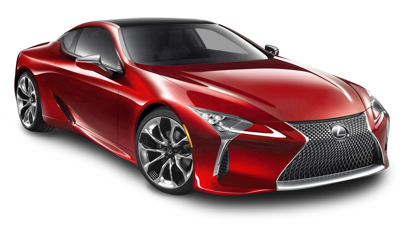 Cherry Red Lexus LC 500h Car.