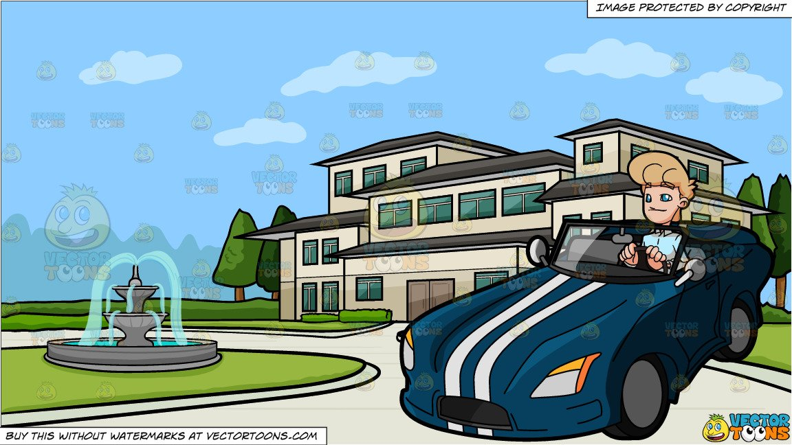 A Man Driving A Cool Sports Car and A Mansion With A Round Driveway  Background.