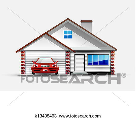 House and red sports car near garage Clipart.