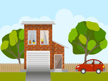 Car near house stock vector. Illustration of door, building.