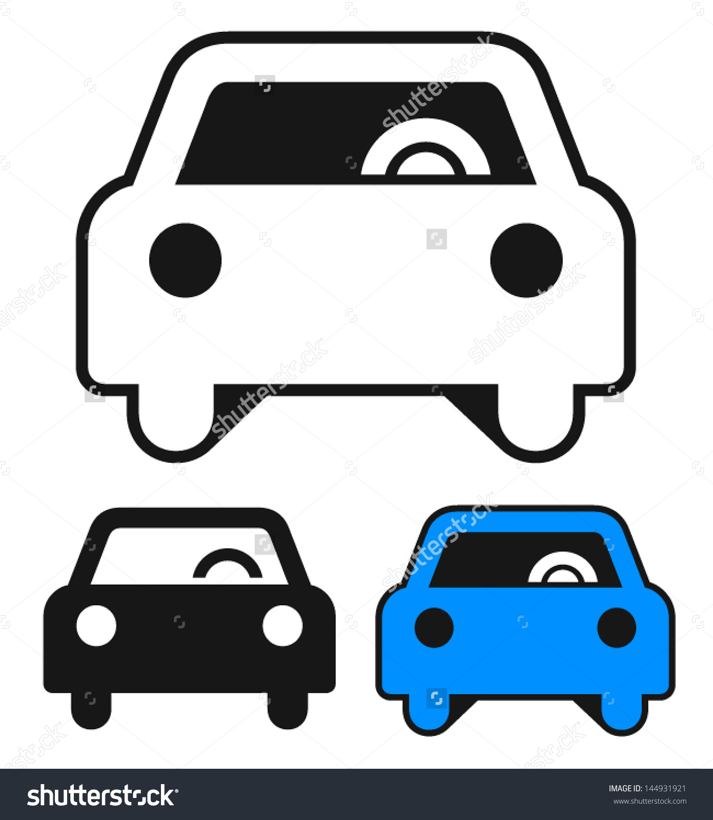 Clipart Style Car Icons Perspective Either Stock Vector 144931921.