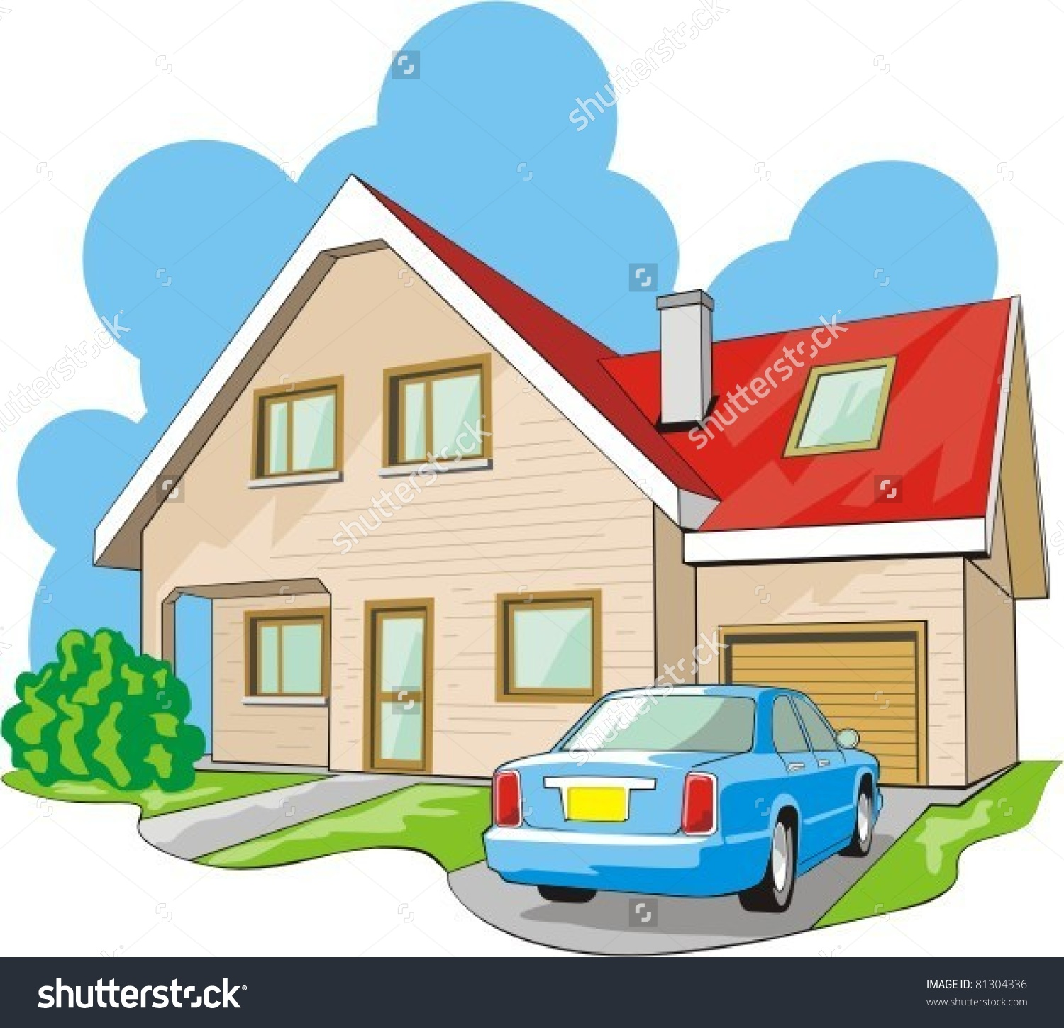 Dwelling Twostory House Garage Stock Vector 81304336.