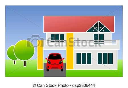 Drawing of single family home with car.