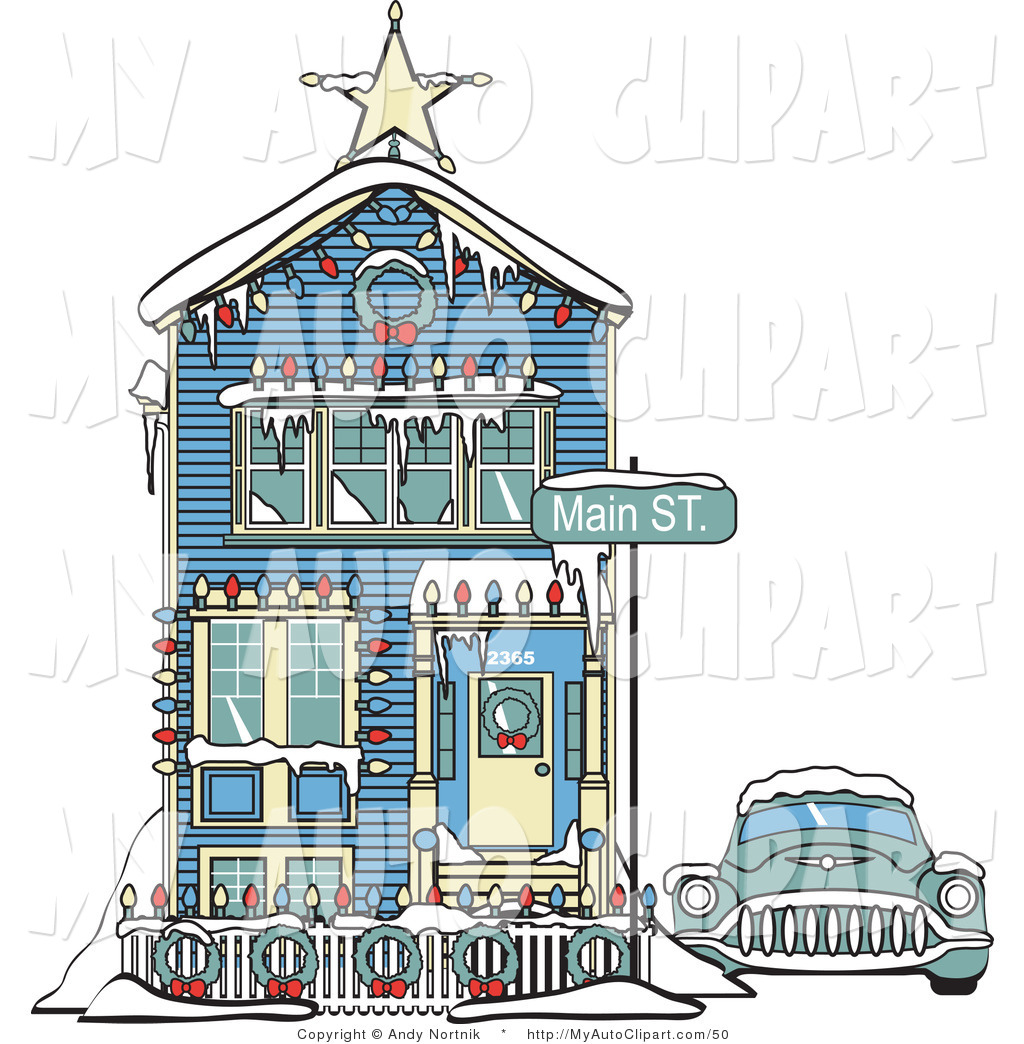 Clip Art of a Car Covered in Snow Outside a Blue Victorian House.