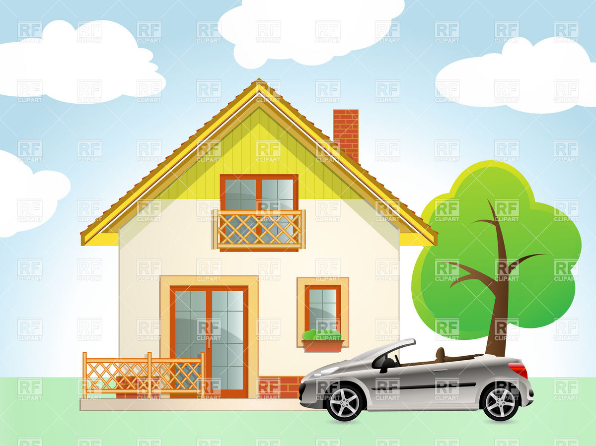 Car and house clipart.