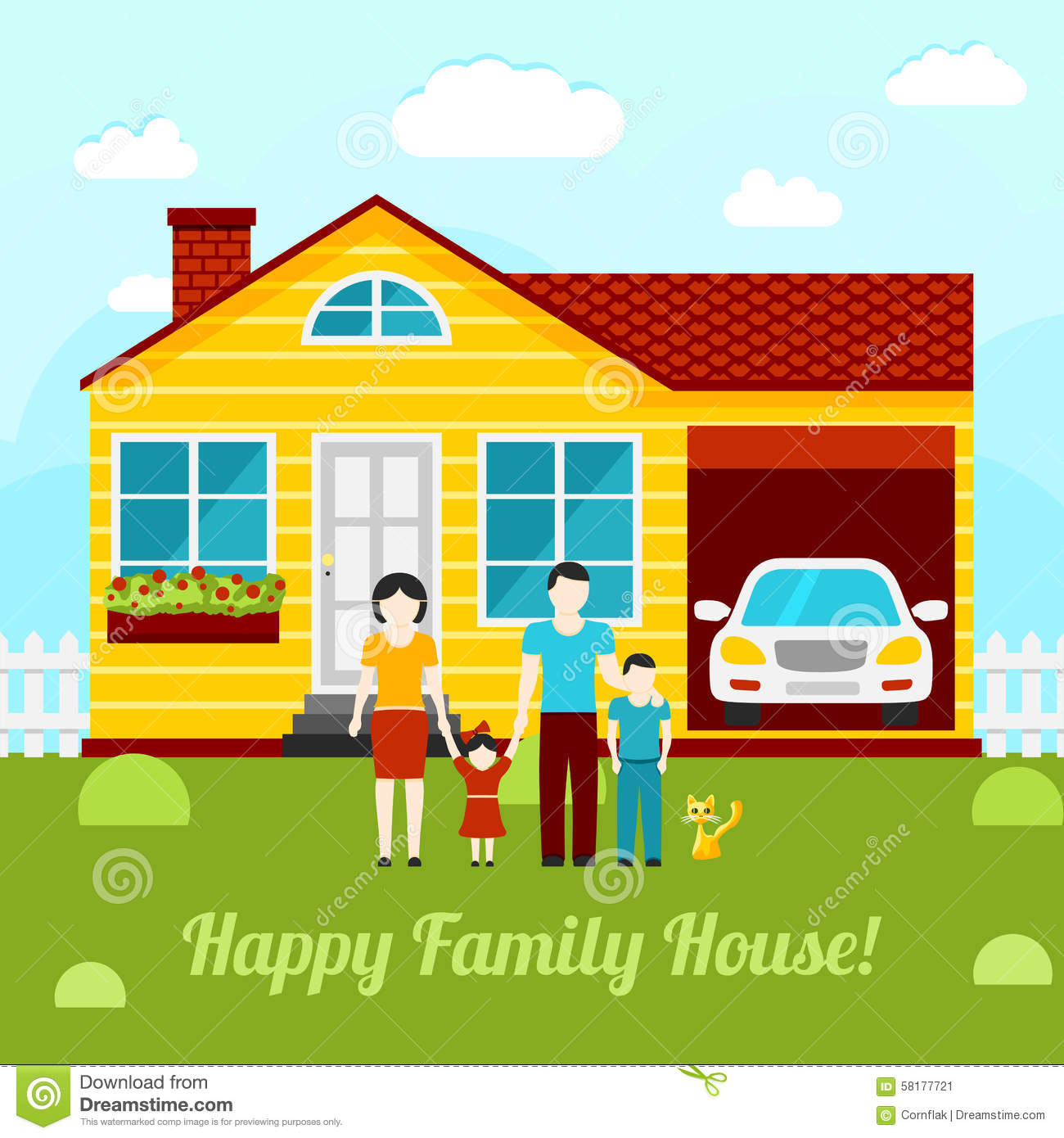 Happy Family House Concept Illustration.
