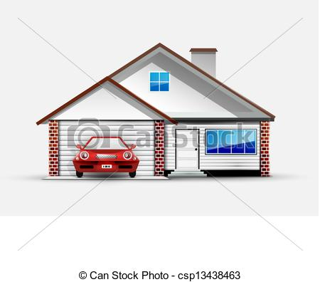 Clip Art Vector of House and red sports car near garage. Vector.
