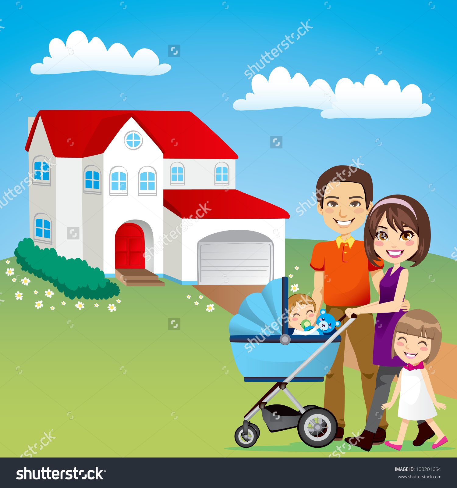 Family in car home clipart.