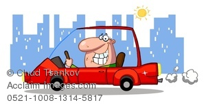 Clipart Image of A Smiling Man Driving a Red Sports Car Through.