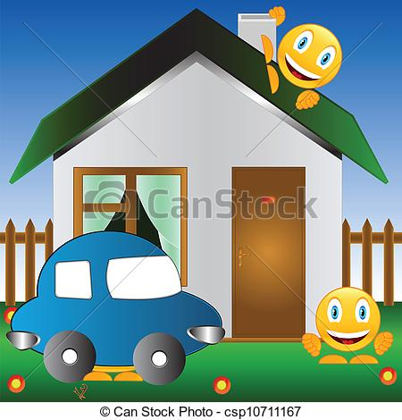 Clip Art Vector of The car and the house.
